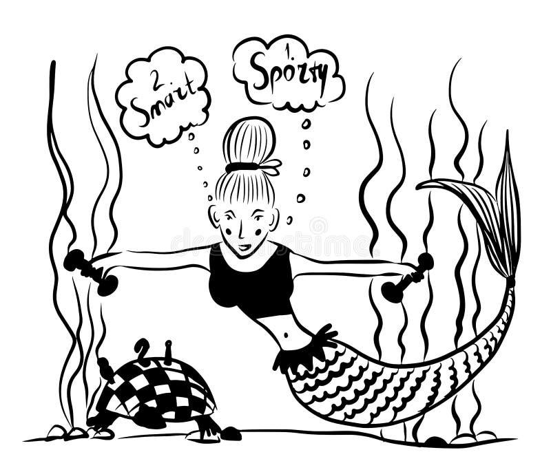 Represente a sereia da menina do desenho na musculatura de bombeamento superior dos esportes usando pesos e simultaneamente balan ilustração stock