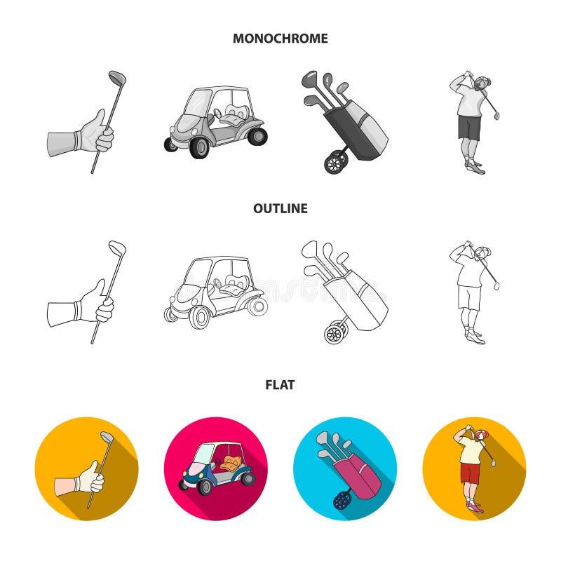 Represente un club de golf, muzhchin que juega con un club, cesta con las bolas, etiqueta con una bandera en el campo de golf Clu libre illustration