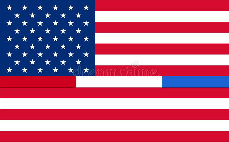 Representing combined support for police, firefighters, 911, Corrections or Federal Agents United States. USA American 911 Flag. royalty free illustration