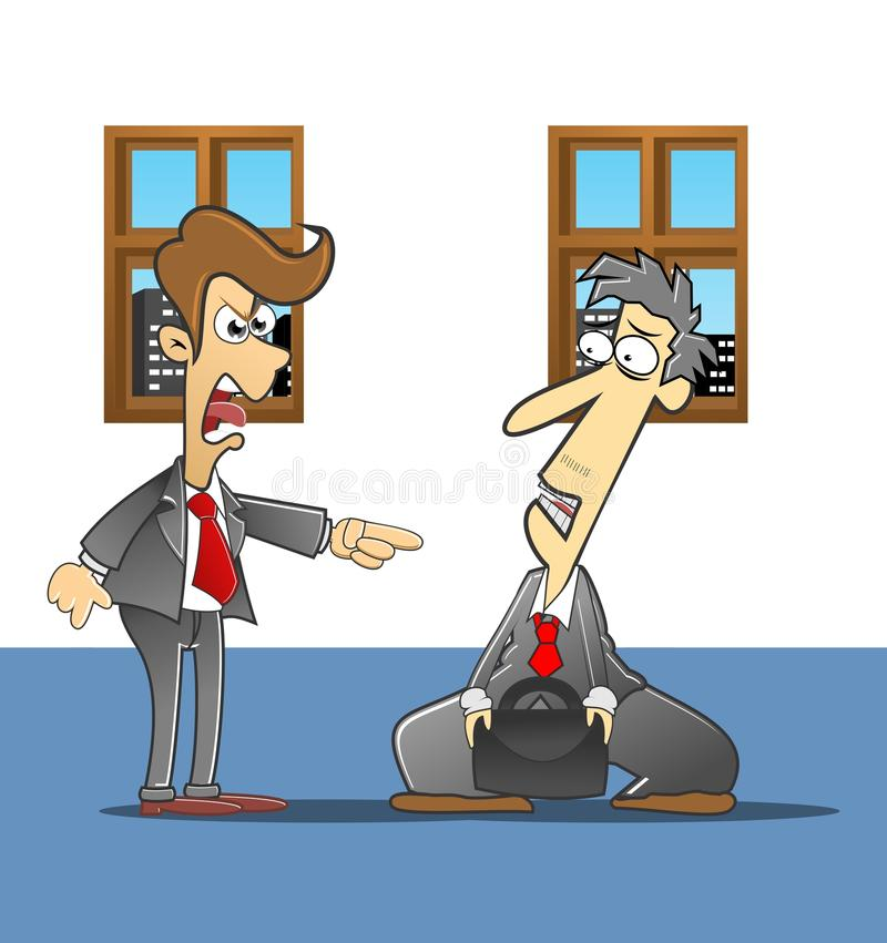 Reprimanded the boss. Employee who is being reprimanded boss royalty free illustration