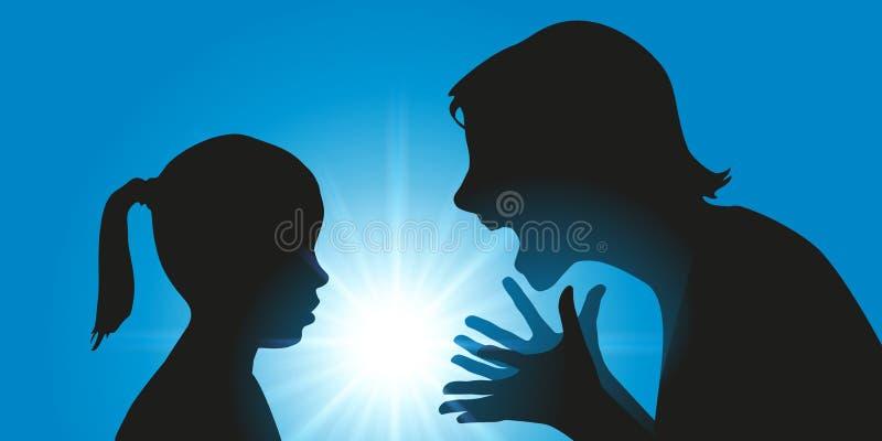 Reprimendas de uma mãe sua criança severamente ilustração royalty free