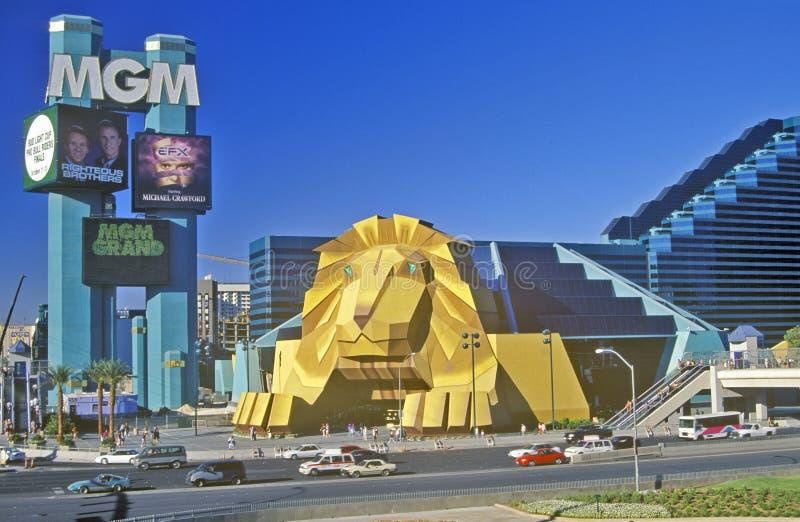 Reproducción del león en la entrada del hotel de Mgm Grand, Las Vegas, nanovoltio imagen de archivo libre de regalías