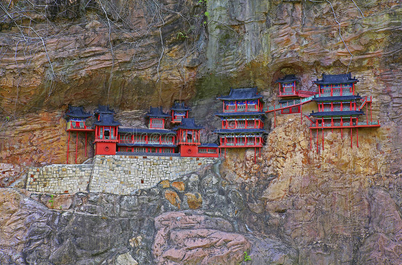 Reproducción del monasterio de la ejecución del mt hengshan, China foto de archivo