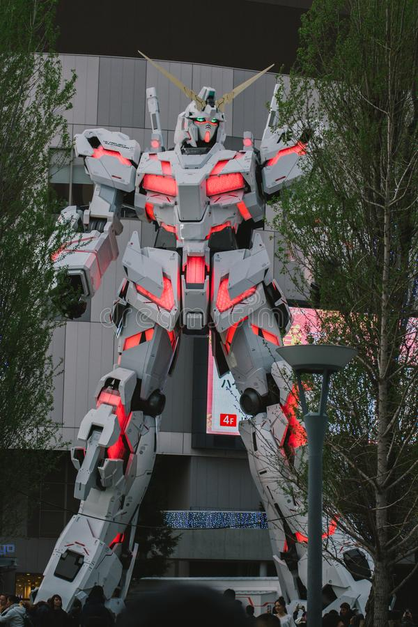 Reproducción móvil del mismo tamaño del traje RX-0 Unicorn Gundam fotos de archivo libres de regalías