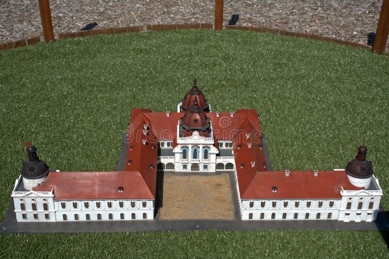 Reproducción miniatura del castillo de Godollo, Szarvas, Hungría foto de archivo