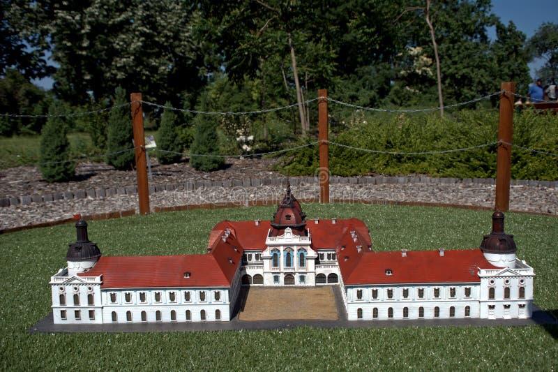 Reproducción miniatura del castillo de Godollo, Szarvas, Hungría fotos de archivo