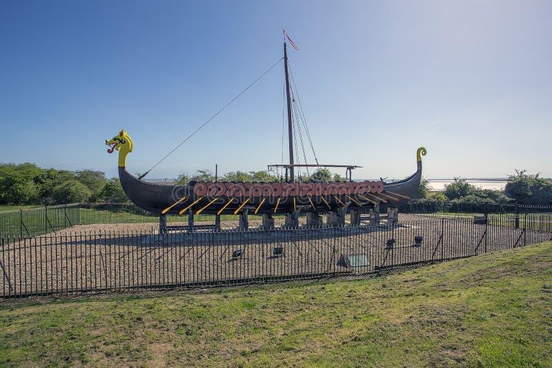 Reproducción Viking Longboat Pegwell Bay imagenes de archivo