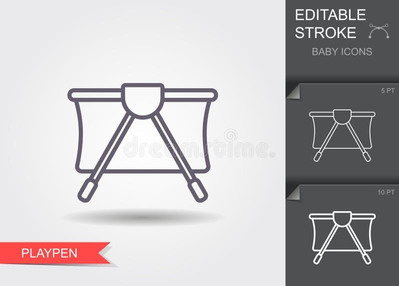 Reproducir Icono de línea con trazo editable con sombra stock de ilustración