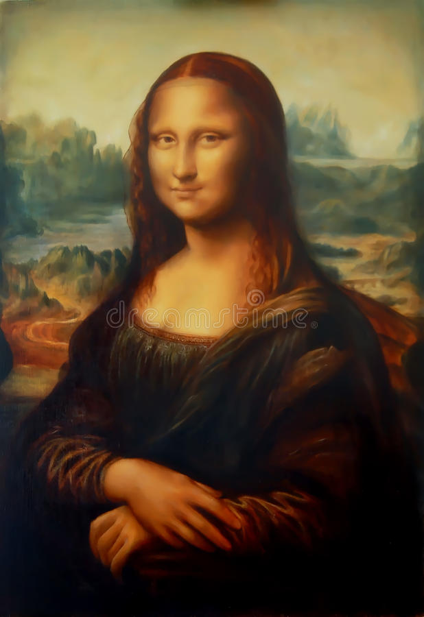 Reproductie van schilderend Mona Lisa door Leonardo da Vinci en licht grafisch effect stock foto's