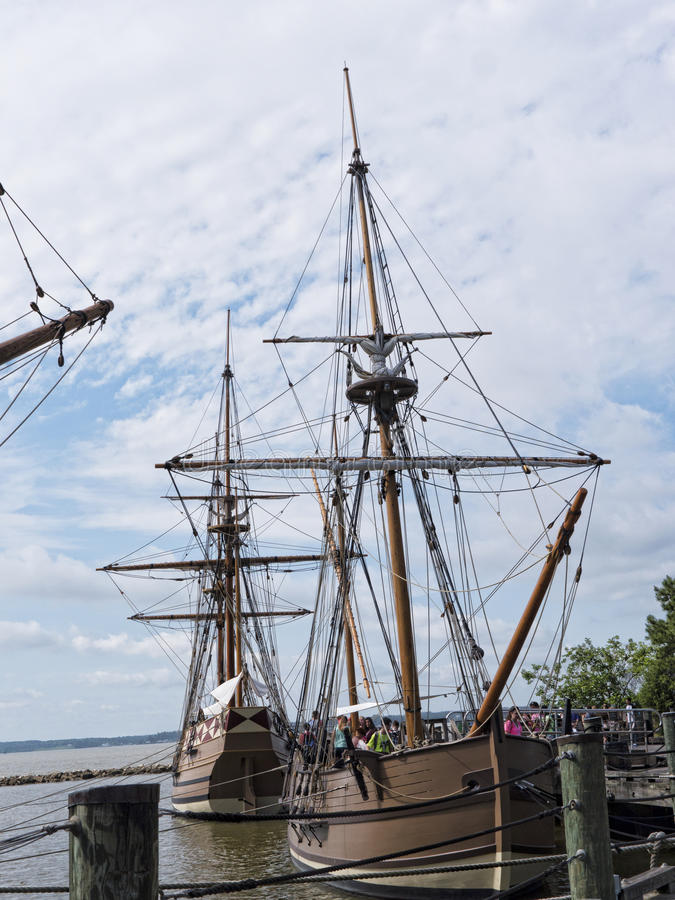 Reproduction Boats on the James River. Historic Jamestown on the James River where the earliest European settlers established their first colony in Virginia USA stock photo