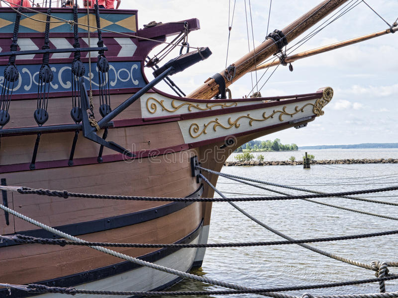 Reproduction Boats on the James River. Historic Jamestown on the James River where the earliest European settlers established their first colony in Virginia USA stock image