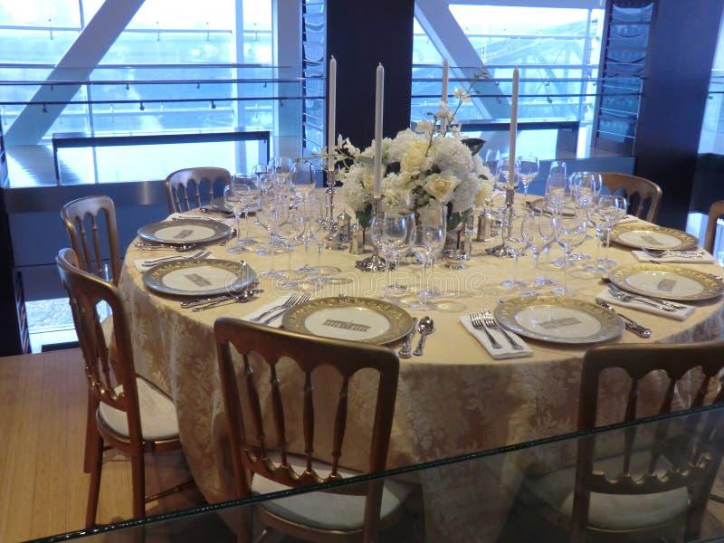 Reproduction de tablescape de la Maison Blanche comme vu en Clinton Presidential Center à Little Rock Arkansas photographie stock libre de droits