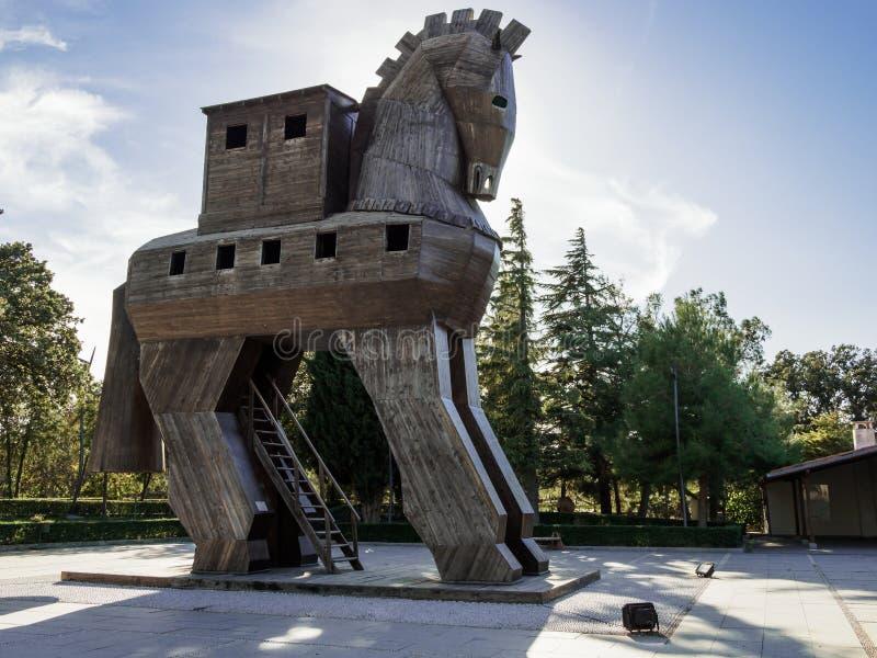 Reproduction de Trojan Horse en bois dans la ville antique de Troie, Turquie image stock