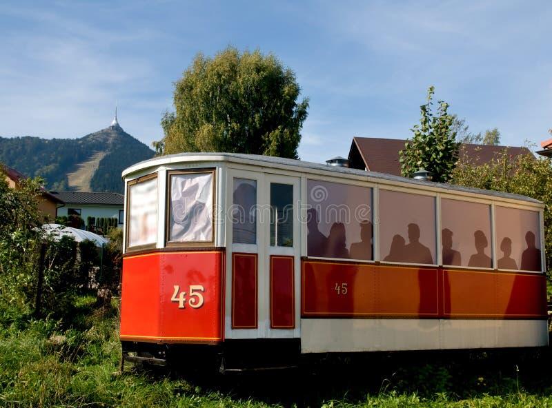 Reproduction des trams originaux de ville - tour plaisantée de TV à Liberec photographie stock