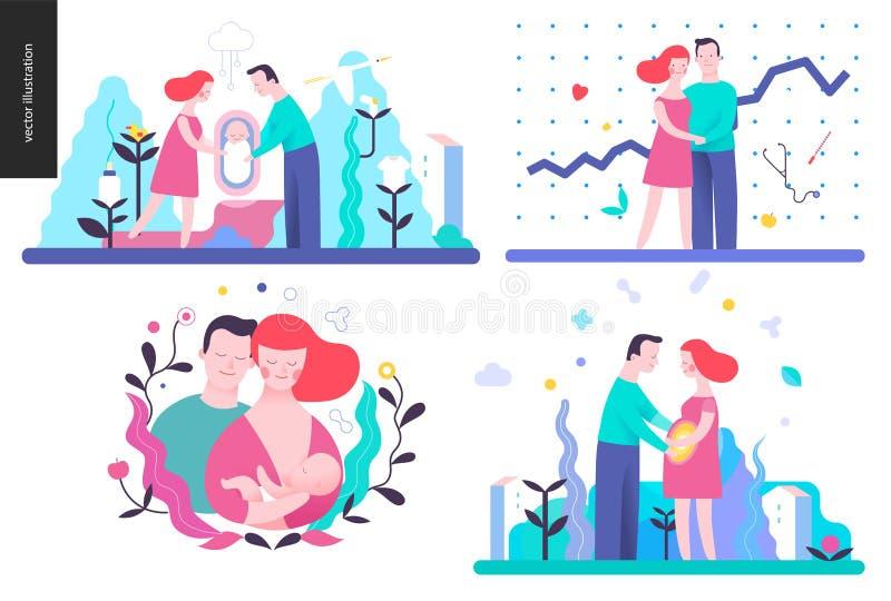 Reproduction - ensemble d'illustrtaions de vecteur illustration stock