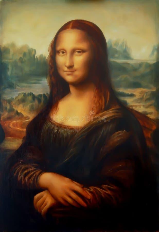 Reproduction of painting Mona Lisa by Leonardo da Vinci and light graphic effect. stock photos
