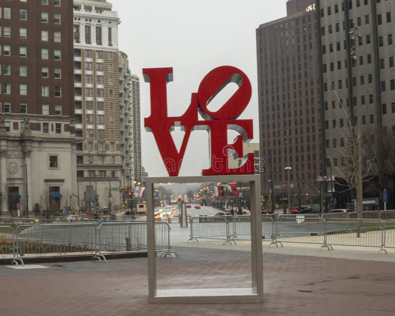 Reproduction of Robert Indiana`s Love sculpture in John F. Kennedy Plaza, Center City, Philadelphia stock image