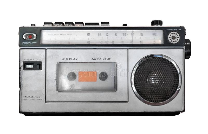 Reproductor de casete del vintage - aislante viejo del receptor de radio en blanco con la trayectoria de recortes para el objeto fotos de archivo libres de regalías