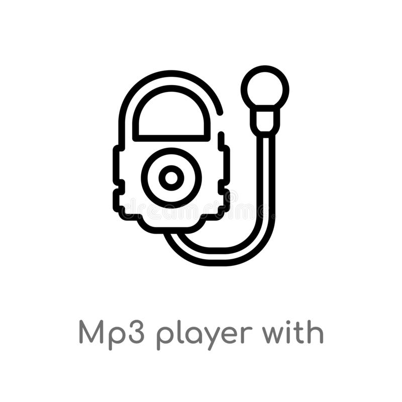 reproductor Mp3 del esquema con el icono del vector de los auriculares línea simple negra aislada ejemplo del elemento del concep libre illustration