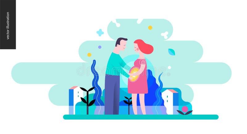 Reproduktion - ett gravid par stock illustrationer