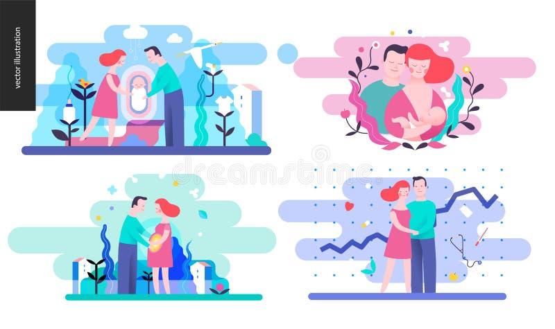Reproduktion - uppsättning av vektorillustrtaions stock illustrationer
