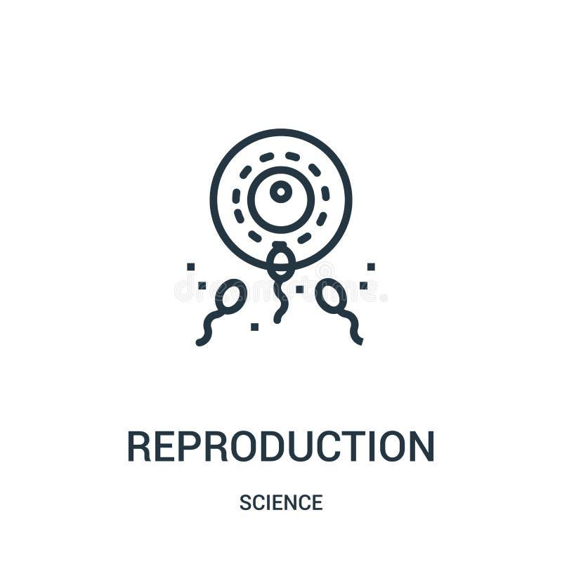 reproduktionssymbolsvektor från vetenskapssamling Tunn linje illustration för vektor för reproduktionsöversiktssymbol Linjärt sym royaltyfri illustrationer