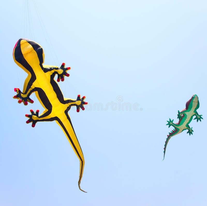 Reptiel vliegers op de hemel stock afbeelding