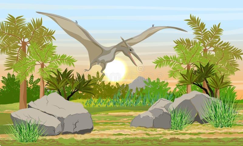 Reptil de vuelo Pteranodon en el cielo sobre animales prehistóricos y plantas del bosque prehistórico ilustración del vector