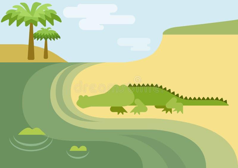Reptil för löst djur för tecknad film för lägenhet för alligatoralligatorkrokodil stock illustrationer