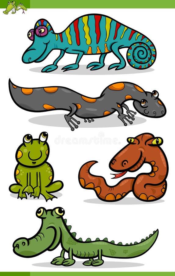 Reptil- och amfibietecknad filmuppsättning vektor illustrationer