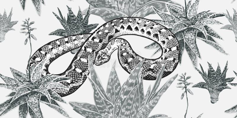 Reptilar, aloe och kakturs Blom- sömlös modell med att blomma växter och ormen stock illustrationer