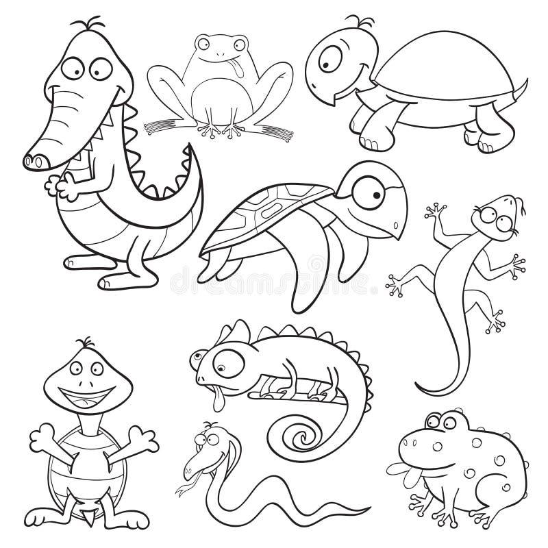 reptilar för amfibiebokfärgläggning stock illustrationer