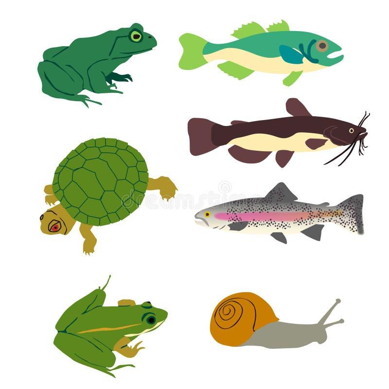 reptilar för fiskdiagrambilder stock illustrationer