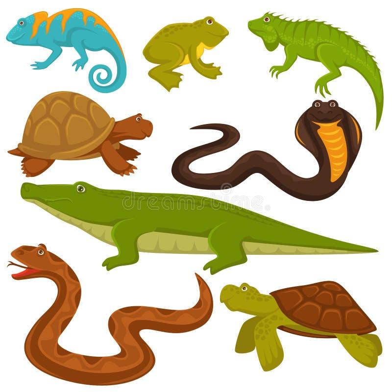 Reptilar och reptiliandjur sköldpadda, krokodil eller kameleont och ödlaorm sänker vektorsymboler stock illustrationer