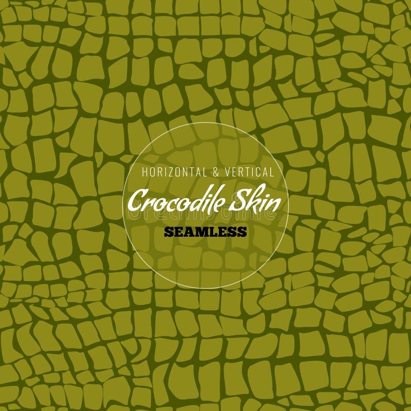 Reptile Alligator skin seamless pattern. Crocodile skin texture for textile design. Vector illustration. stock illustration