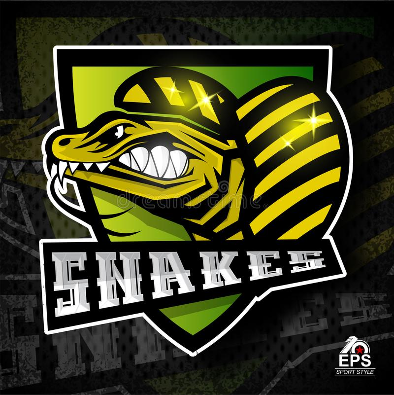 Reptile face in profile with bared teeth. Logo for any sport team royalty free illustration