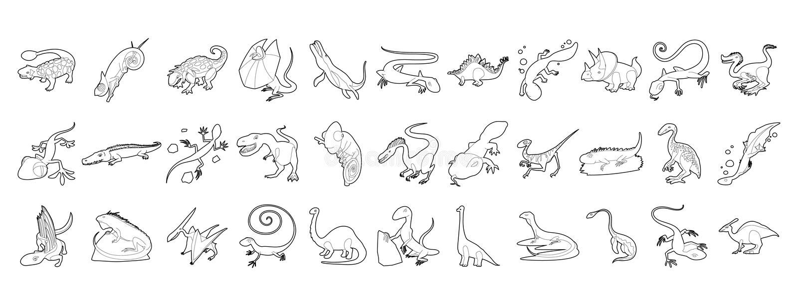 Reptile icon set, outline style. Reptile icon set. Outline set of reptile vector icons for web design isolated on white background vector illustration