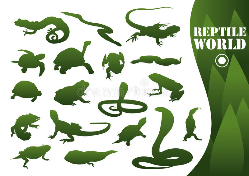 Reptile silhouettes isolated vector illustration