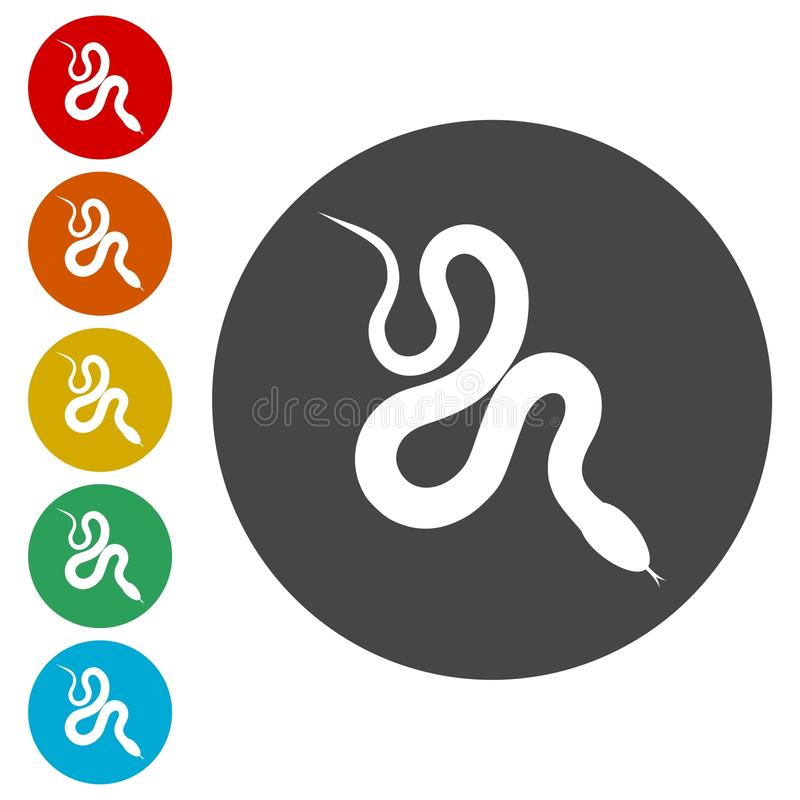 Reptile snake flat icon for animal apps. Simple vector icons set vector illustration