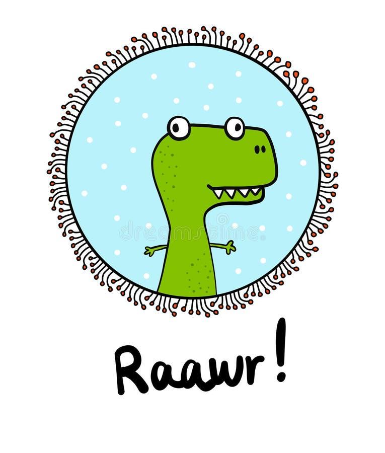 Reptile tiré par la main de rex du dinosaure t de minimalisme dans un cadre pour l'illustation mignon de bannières d'affiches d'i illustration stock