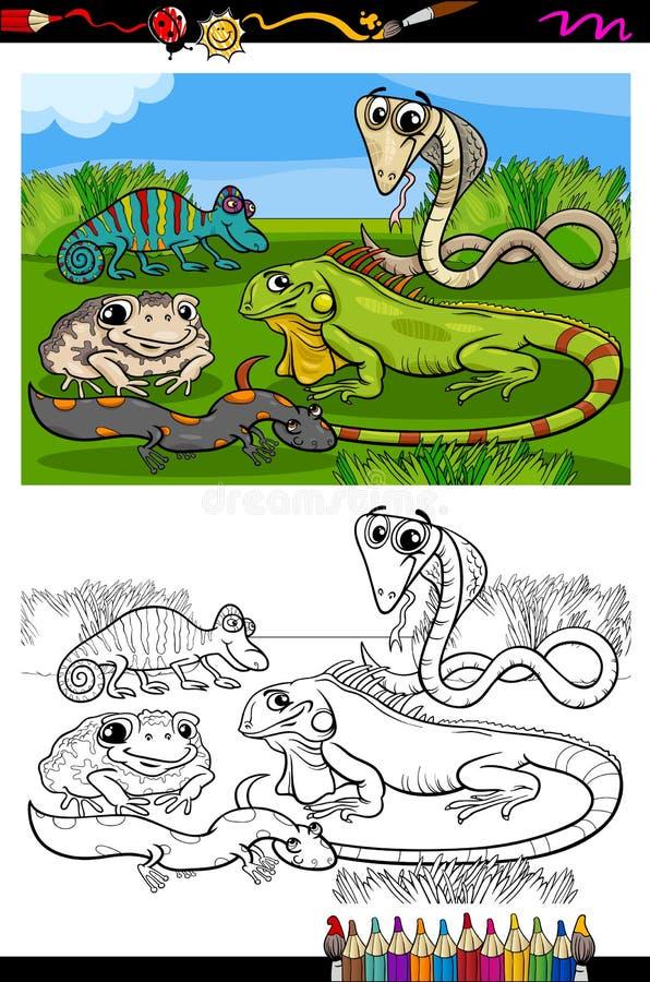 Stock Illustration Reptiles Amphibians Coloring Book Page Cartoon Illustration Black White Funny Group Children Image44626640 on Preschool Chameleon Art
