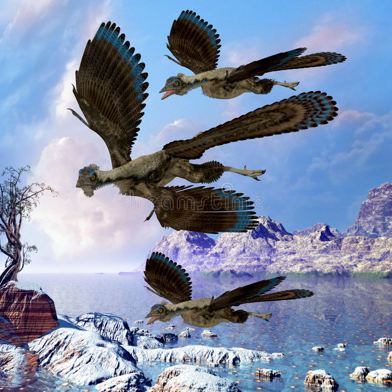 Reptiles de vuelo del Archaeopteryx stock de ilustración