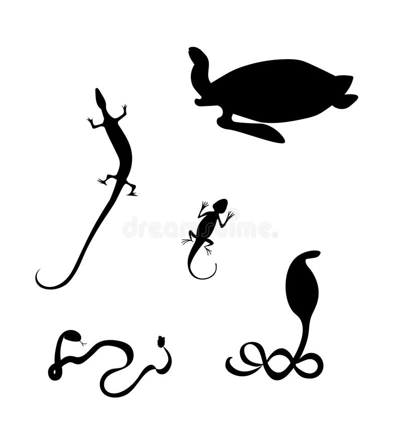 Reptiles silhouettes. Cobra, lizard, Agama, hawksbill sea turtle. Black silhouettes of the reptiles. Cobra, lizard, Agama, hawksbill sea turtle, rattlesnake royalty free illustration
