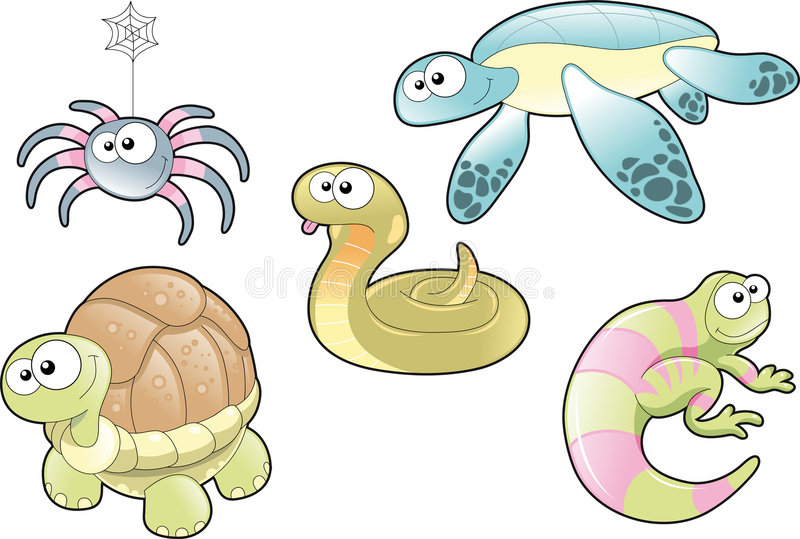 Download Reptiles and Spider Family stock vector. Image of character - 6829986