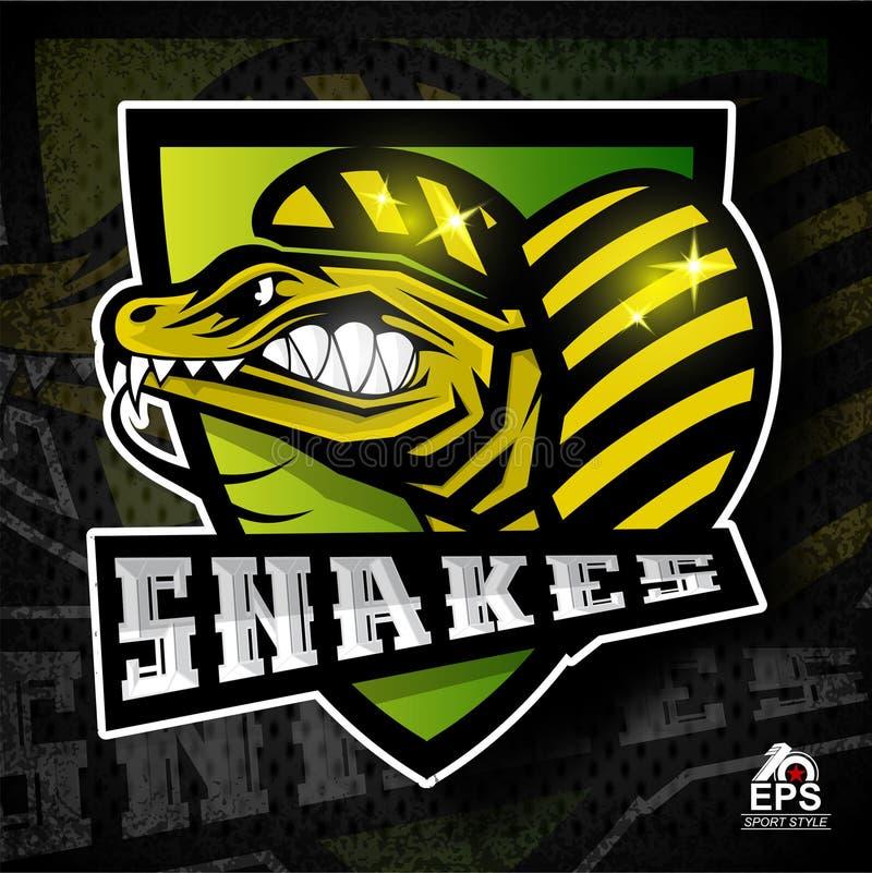 Reptilframsida i profil med gör bar tänder Logo för något sportlag royaltyfri illustrationer