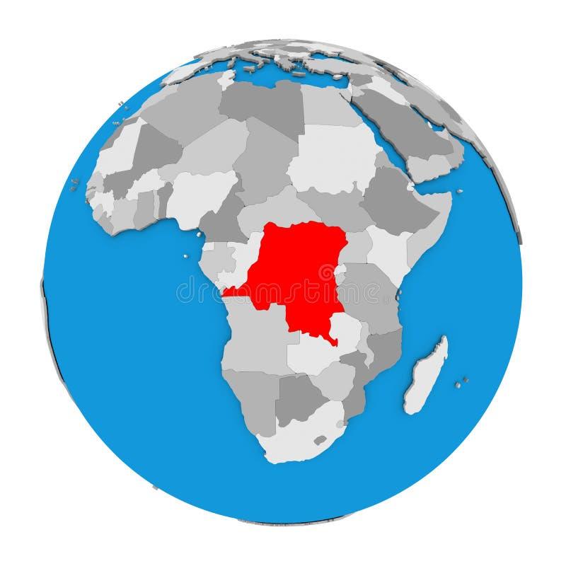 Repubblica Democratica del Congo sul globo illustrazione vettoriale