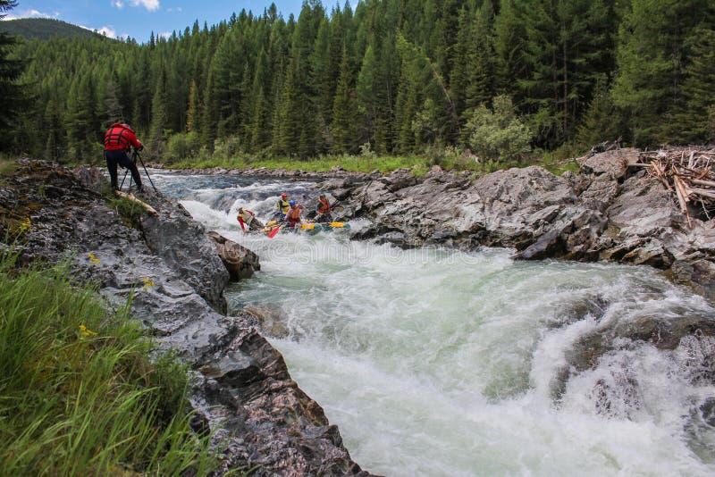 Repubblica di Altai Rafting estremo sul fiume di Bashkaus immagini stock libere da diritti