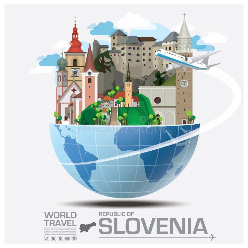 Repubblica di viaggio del punto di riferimento della Slovenia e viaggio globali Infograp royalty illustrazione gratis