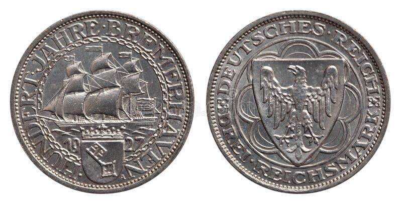 Repubblica 1927 di Weimar del segno della moneta d'argento 3 della Germania immagine stock libera da diritti