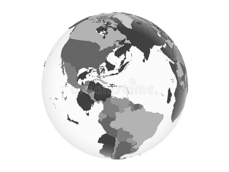 Repubblica dominicana con la bandiera sul globo isolato royalty illustrazione gratis
